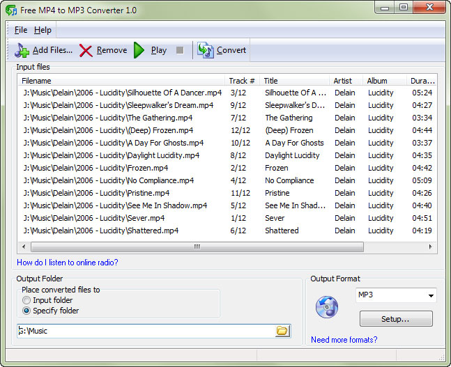 Screenshot of Free MP4 to MP3 Converter 1.0